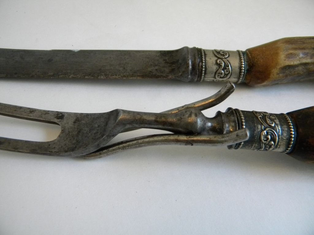 Antique Antler And Sterling Silver Carving Knife Set