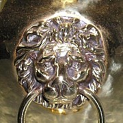 English Brass Jardiniere with Lion Head Mounts, Circa 1890