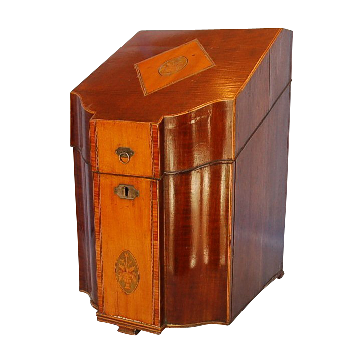 18th Century Mahogany & Satinwood Knife Box with Inlaid Pot of Flowers