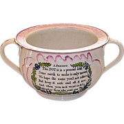 Early 19th Century English Sunderland Pink Lustre Chamber Pot