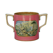 Mid-19th Century English Pratt Ware Two-handled Loving Cup