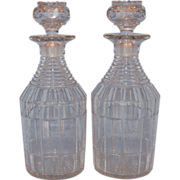 Early 19th Century Pair of English Clear Cut Glass Decanters