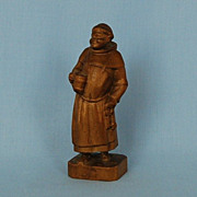 Early 20th Century Continental Hand-carved Wooden Figure of a Monk