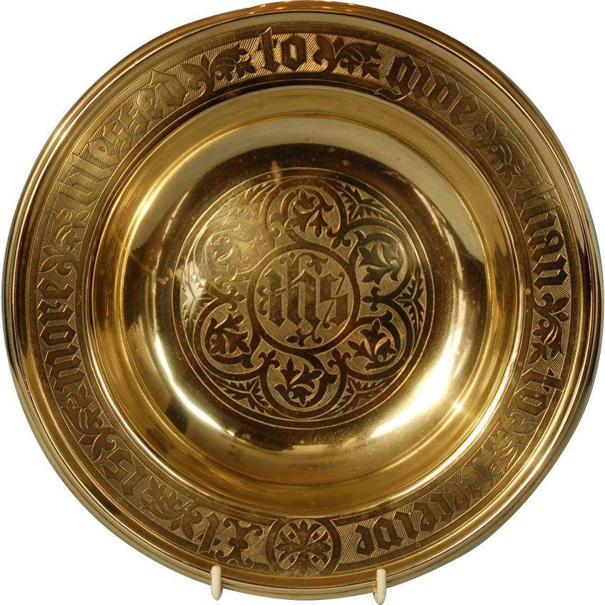 Antique English or Canadian Brass Church of England Alms Plate or Dish