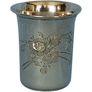 19th Century German 800 Fine Silver Beaker with Gilt Interior
