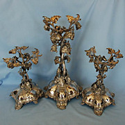 19th Century English Three-piece Silverplate Table Garniture or Dessert Stands by Thomas Bradbury & Sons