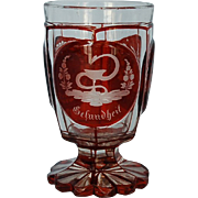 19th Century Bohemian Biedermeier Footed Goblet