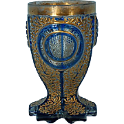 Mid-19th Century Blue & Gilt Biedermeier Bohemian Glass