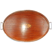 Antique American Silverplate & Inlaid Mahogany Two-handled Gallery Tray by J. Sternau & Co.