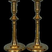 Pair 18th Century English Brass Candlesticks