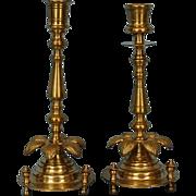 19th Century Pair Russian Brass Candlesticks