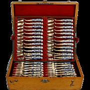 19th Century Seventy-two Piece German 800 Silver Dessert Service (for 24) with Meissen Pistol