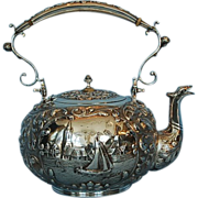 Vintage Dutch 833 Fine Silver Hot Water Kettle Schoonhoven 1916
