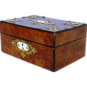 19th Century English Burr Walnut Box with Brass Mounts