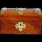 19th Century English Walnut Dome-top Tea Caddy with Brass Mounts