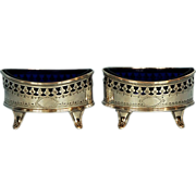 19th Century Pair English Sterling Silver Open Salt Cellars with Blue Glass Liners by Deykin &