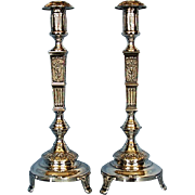 Pair of Polish 800 Silver Candlesticks by MK 1920-1931