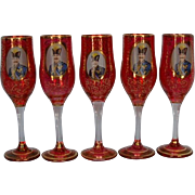 Five Antique Bohemian Ruby Red Champagne Flutes with Gilt Vermicelli and Portrait of 19th ...