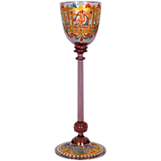 19th Century Murano and Moser Hand-blown Stemmed Gilt and Enamel Cordial Glass