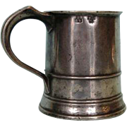 Early 19th Century English Pewter Pint Tavern Mug with Maker's Mark
