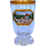 Early 19th Century Biedermeier Enamel and Gilt Topographical Glass