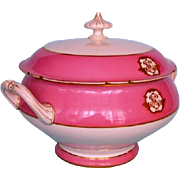 19th Century Paris Porcelain Pink and White Tureen