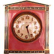 SALE PENDING Early 20th Century Swiss Sterling Silver and Guilloche Enamel 8-day Travel Clock