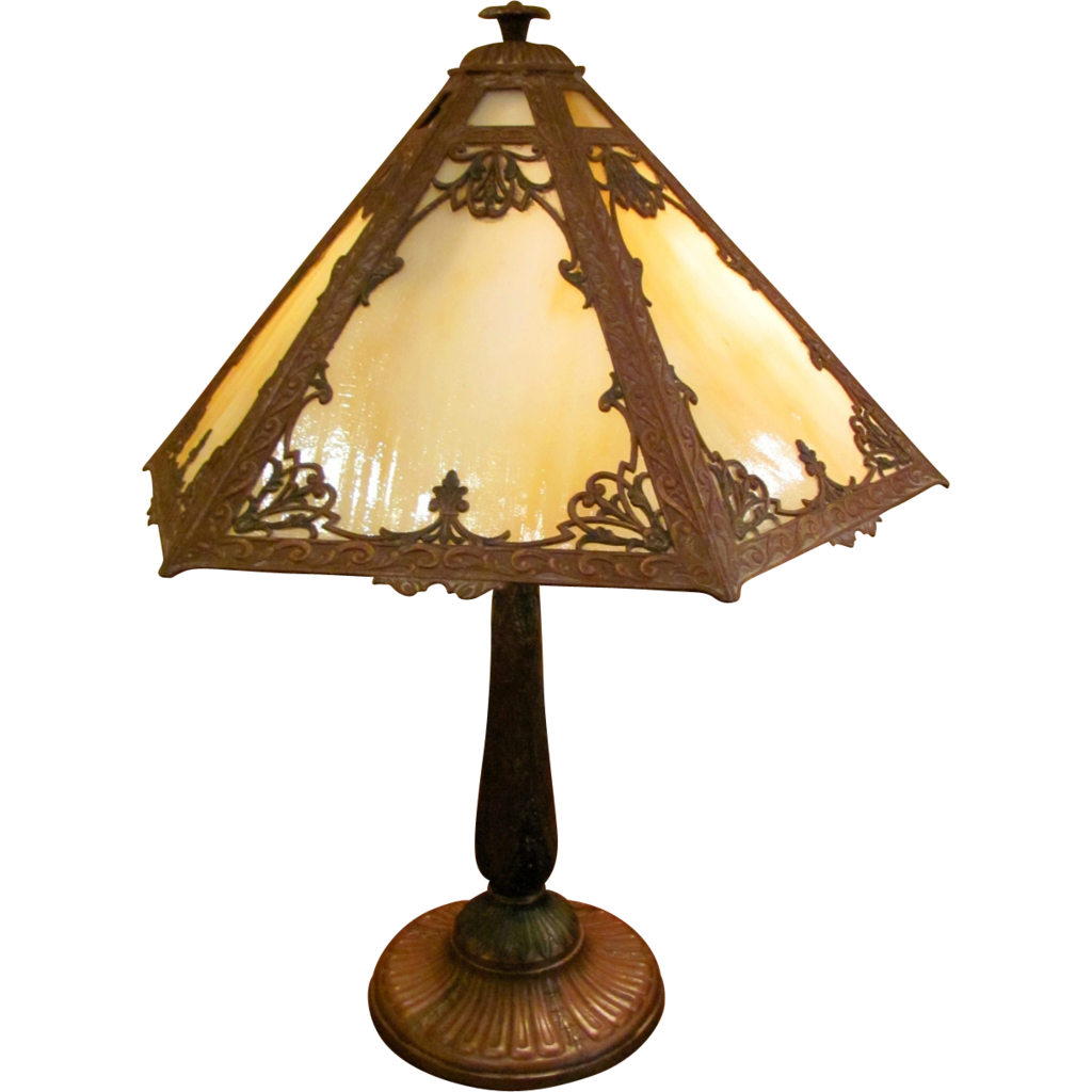 antique caramel slag glass panel table lamp circa 1920. Black Bedroom Furniture Sets. Home Design Ideas