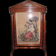 Antique Biedermeier Mahogany Fireplace Screen Petit Point Circa 1820