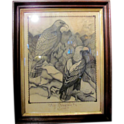 Antique American Pen and Ink Drawing Signed Circa 1850