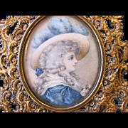 Antique Hand Painted Portrait Miniature Photo Locket Circa 1900