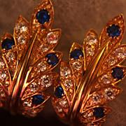 SALE 14K Earrings Posts  Sapphires Diamonds Pierced