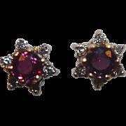 SALE 14k Ruby Diamond Studs Earrings Posts Pierced