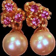 SALE 14K Earrings Dangle Pierced Pink Pearl Estate