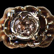 SALE 14k Pink Diamond Ring Nouveau Antique Euro Cut Roma