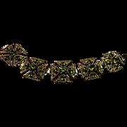 SALE Bracelet Green Crystal Cross Celtic Goldtone Chunky