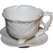 SALE Chinese Cups Saucers Demitasse Stone Carved Hardstone White Old Set