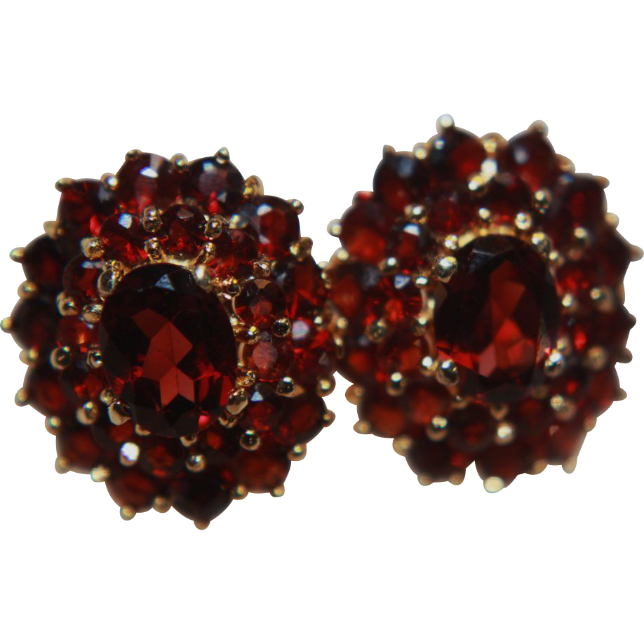 Garnet Earrings Clip On Genuine Gold Washed From Rubylane