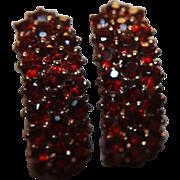 SALE Garnet Earrings Hoops Clusters Genuine Rose Gold Washed