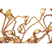 """SALE PENDING 14K Opal Necklace Chain Antique Station Rare 49"""" Long"""
