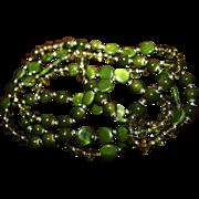 SALE Vintage Necklace Long Olive Glass Flapper