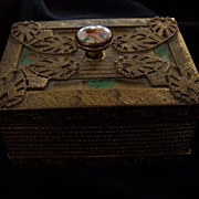 SALE Art Deco Portrait Trinket Box Ormolu Box 1920s Flapper Girl Casket