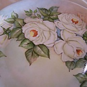 Large Bavarian Plate Hand Painted White Roses Signed