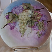 Large Bavarian Plate Hand Painted Grape Wreath Signed