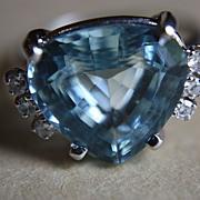 SALE Asscher 18K Aquamarine Diamonds Ring Earrings Set  Custom 8.50 Carats