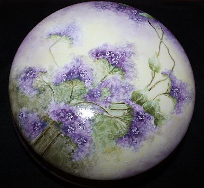 Limoges Vanity Dresser Box Jar Porcelain Lavender Lilacs Large France