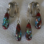 SALE Vintage Venetian Glass Earrings Rare Opal Carved Inlaid Clips Silver