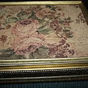 SALE Antique Large French Tapestry Box Roses Trinket Floral Tole Needlepoint Gold