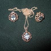 SALE Vintage Blue Topaz Set Earrings Pendant Silver Necklace 925