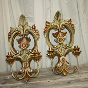 SALE Antique Italian Sconces Carved Candle Lights Rare